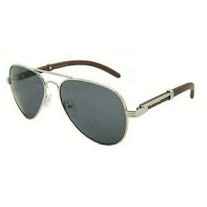 Accessories - Wood Frame Silver Trim Retro Aviator Sunglasses